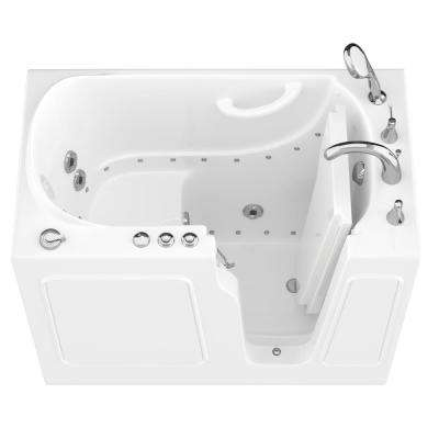 HD Series 46 in. Right Drain Quick Fill Walk-In Whirlpool and Air Bath Tub with Powered Fast Drain in White