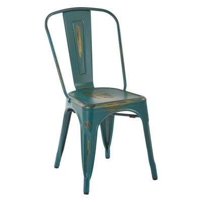 Bristow Antique Turquoise Armless Metal Chair (4-Pack)