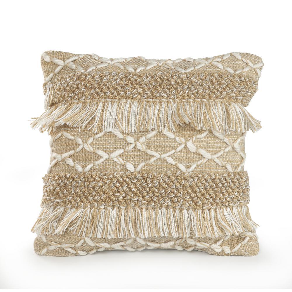 20 in. x 20 in. Rustic Beige/White Neutral Fringe Geometric Standard Throw Pillow