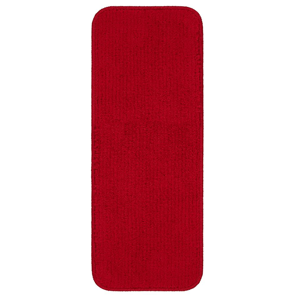 Ottomanson Comfort Collection Red 9 in. x 26 in. Rubber Back Plush Stair Tread (Set of 5)