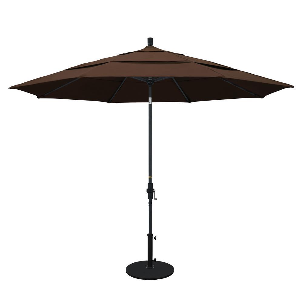 11 ft. Aluminum Collar Tilt Double Vented Patio Umbrella in Mocha Pacifica