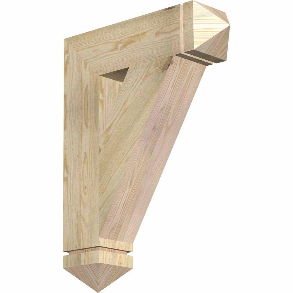 Ekena Millwork 6 in. x 32 in. x 24 in. Douglas Fir Traditional Arts and Crafts Rough Sawn Bracket