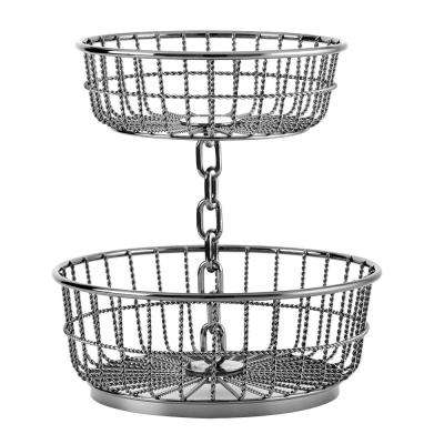 2-Tier Gun Metal Chain Basket