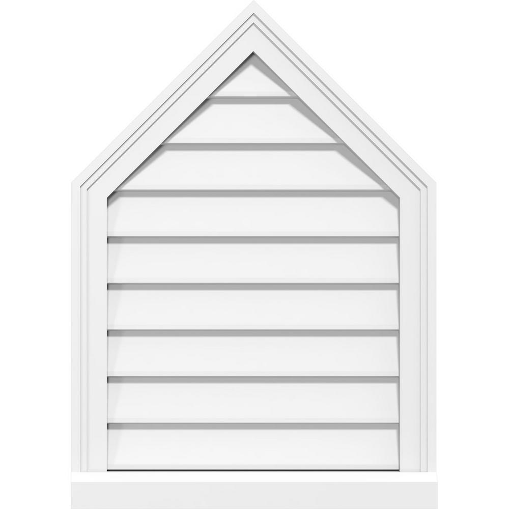 Ekena Millwork 24 In X 32 In Peaked Top Surface Mount Decorative Pvc Gable Vent 9 12 Pitch With 2 In X 2 In Brickmould Sill Frame Gvppe24x3203sn 09 The Home Depot