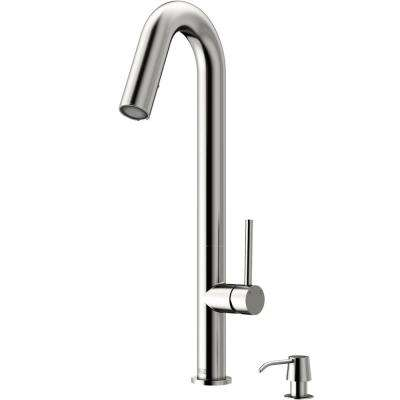 Oakhurst LED Pull-Down Kitchen Faucet With Soap Dispenser In Stainless Steel