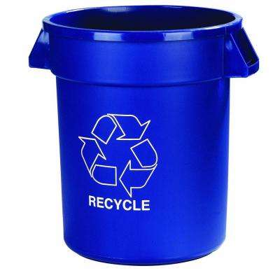 Bronco 44 Gal. Blue Trash Can with Recycling Imprint (3-Pack)