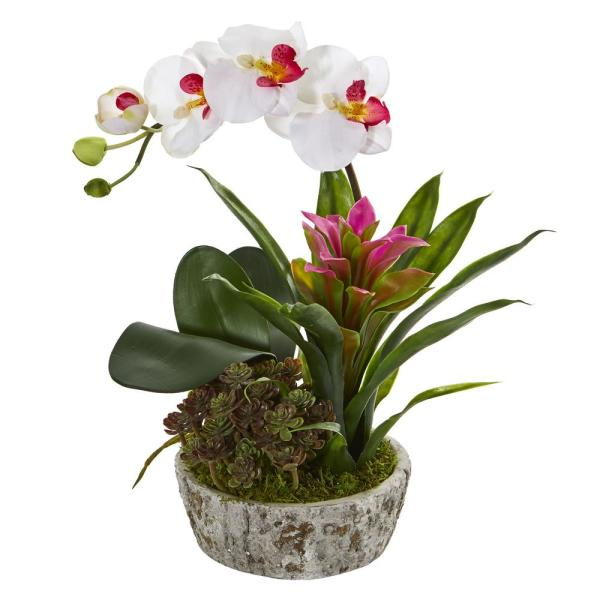 Nearly Natural Indoor Orchid Bromeliad and Succulent Artificial Arrangement in Planter