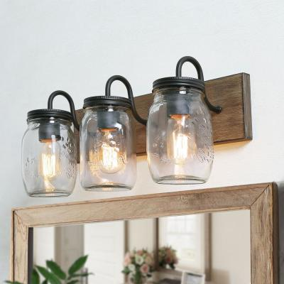 Farmhouse Bathroom Vanity Light 3-Light Dimmable Powder Room with Wood Accents and Clear Mason Jar Shades