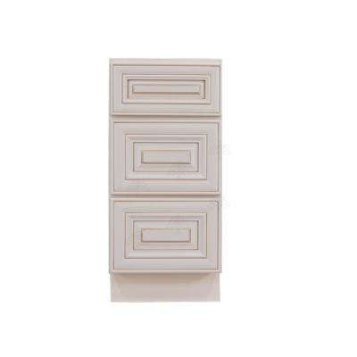 Princeton Assembled 12 x 21 x 33 in. Bath Vanity Cabinet Only with 3 Drawers in Creamy White Glazed