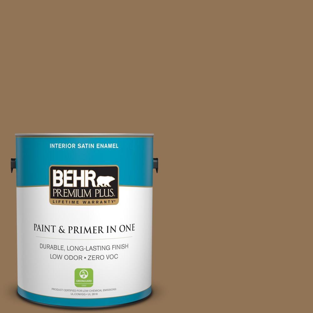 1-gal. #290F-6 Warm Earth Zero VOC Satin Enamel Interior Paint