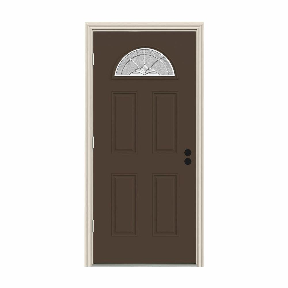 JELD-WEN 32 in. x 80 in. Fan Lite Langford Dark Chocolate Painted Steel Prehung Right-Hand Outswing Front Door w/Brickmould