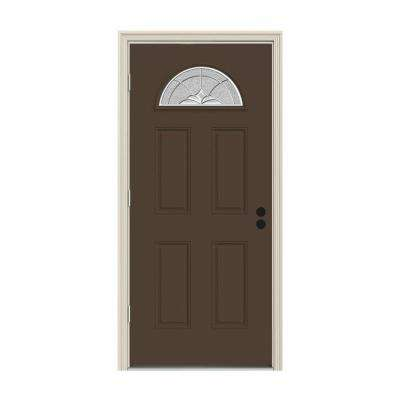 32 in. x 80 in. Fan Lite Langford Dark Chocolate Painted Steel Prehung Right-Hand Outswing Front Door w/Brickmould