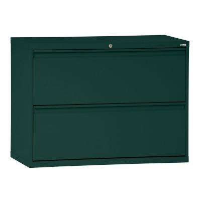 800 Series 30 in. W 2-Drawer Full Pull Lateral File Cabinet in Forest Green
