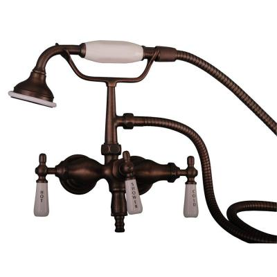 3-Handle Claw Foot Tub Faucet with Old Style Spigot and Hand Shower in Oil Rubbed Bronze