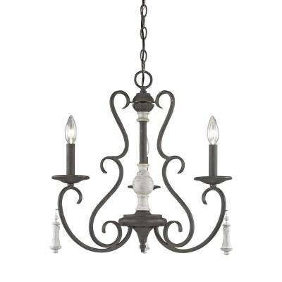 Porto Cristo 3-Light Large Palermo Rust with Birch Accents Chandelier