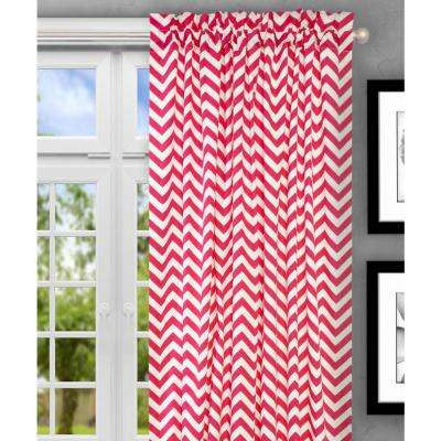 Reston 50 in. W x 63 in. L Cotton Tailored Curtain Panel in Pink