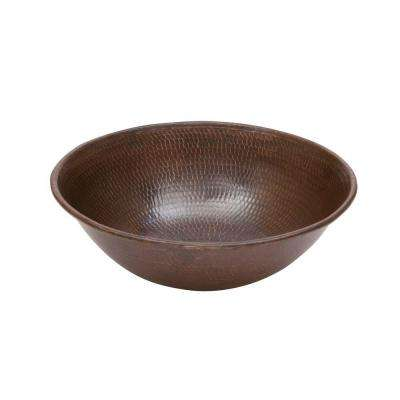Round Wired Rimmed Hammered Copper Vessel Sink in Oil Rubbed Bronze