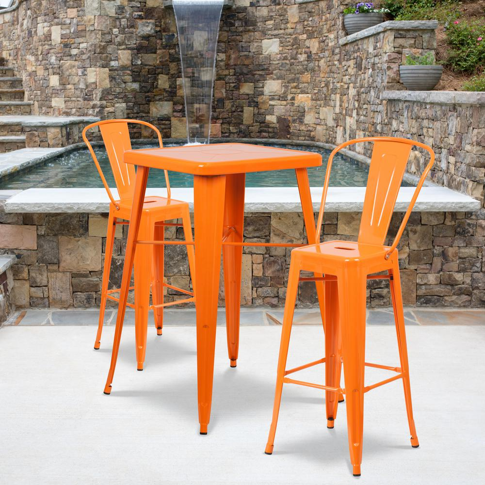 Sensational Carnegy Avenue 3 Piece Metal Square Outdoor Bistro Set In Orange Theyellowbook Wood Chair Design Ideas Theyellowbookinfo