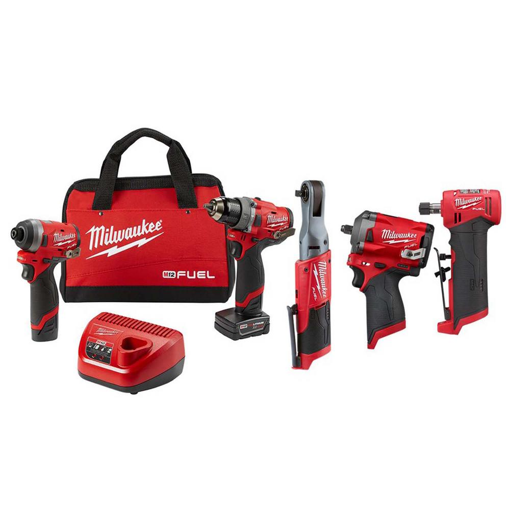 Milwaukee M12 FUEL 12-Volt Lithium-Ion Brushless Cordless Combo Kit (5 tool) w/ 2 Batteries and Bag