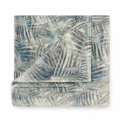 "Rough Palms Blue 70 in. L"" X 50in. W"" Ultra Soft Plush Throw"