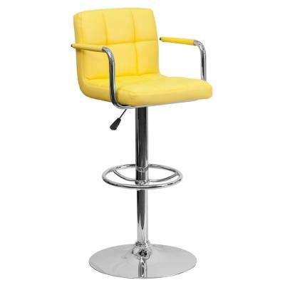 33.25 in. Adjustable Height Yellow Cushioned Bar Stool