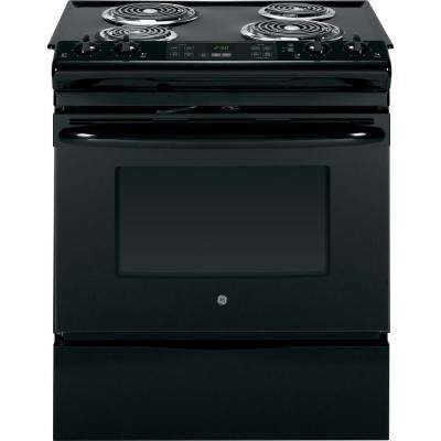 4.4 cu. ft. Slide-In Electric Range with Self-Cleaning Oven in Black