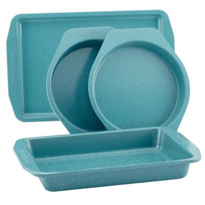 4-Piece Nonstick Bakeware Set Blue Speckle