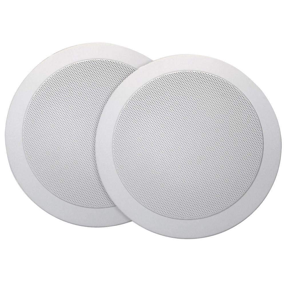 Music Therapy 60-Watt 2-Way Indoor/Outdoor Round Speaker System, White (2-Pack)
