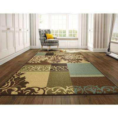 Ottohome Collection Contemporary Damask Design Beige 8 ft. x 10 ft. Area Rug