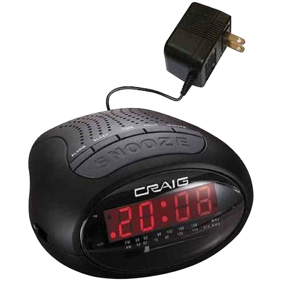 craig 0 6 in led pll am fm dual alarm clock radio cr45329b the home depot. Black Bedroom Furniture Sets. Home Design Ideas