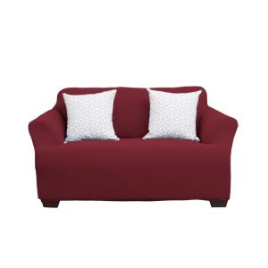 Great Bay Home Cambria Collection Wine Stretch Fit Form Fitting Heavyweight Loveseat Stretch Slipcover by Great Bay Home