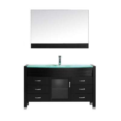 Ava 55 in. W Bath Vanity in Espresso with Glass Vanity Top in Aqua Tempered Glass with Round Basin and Mirror and Faucet