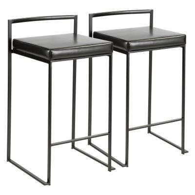 Fuji 26 in. Black Stackable Counter Stool with Black Faux Leather Cushion (Set of 2)