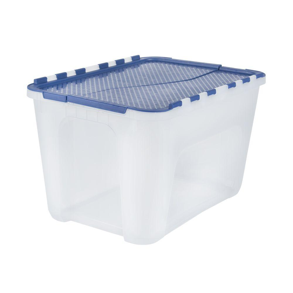 HDX 4 Gal Clear Storage Tote with Blue Flip Top 17200552 The Home
