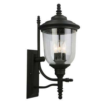 Pinedale 3-Light Matte Black Outdoor Wall Mount Lantern