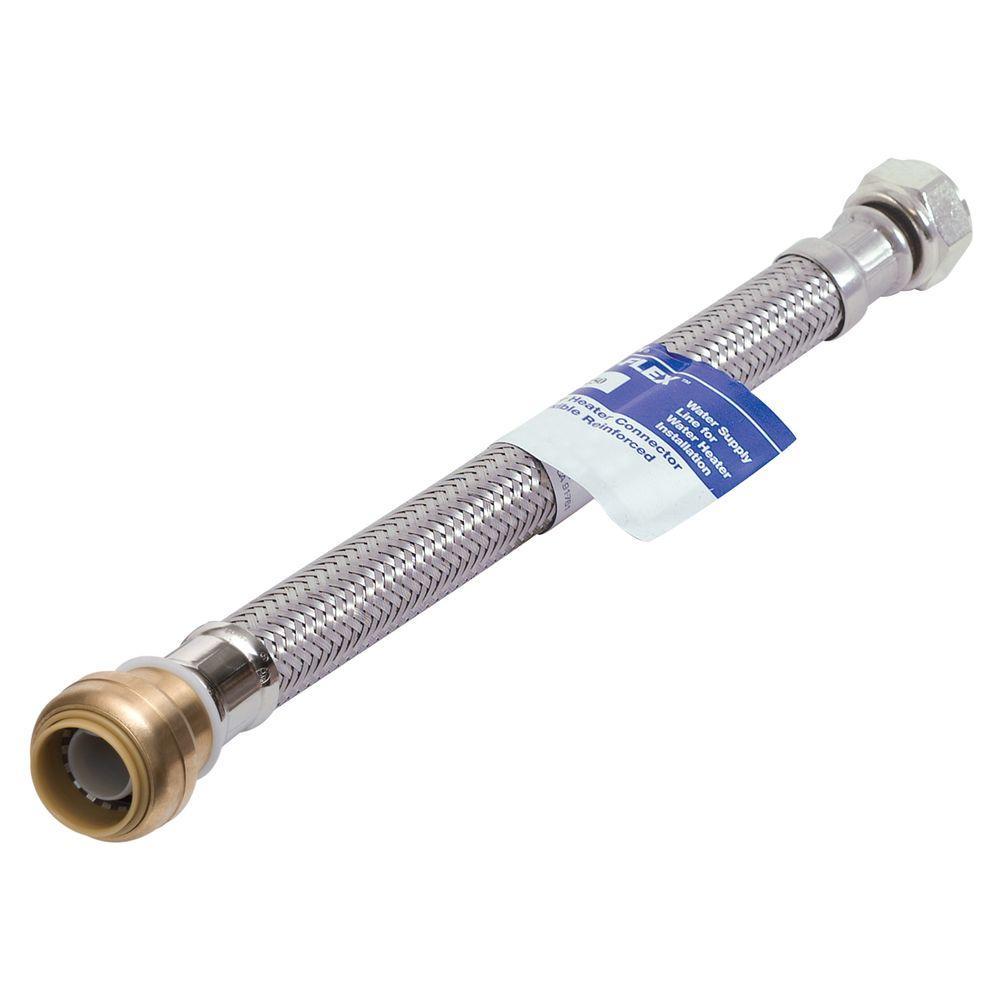 Water-Flex 3/4 in. FIP x 3/4 in. Push-Fit x 18 in. Flexible Water Heater Connector