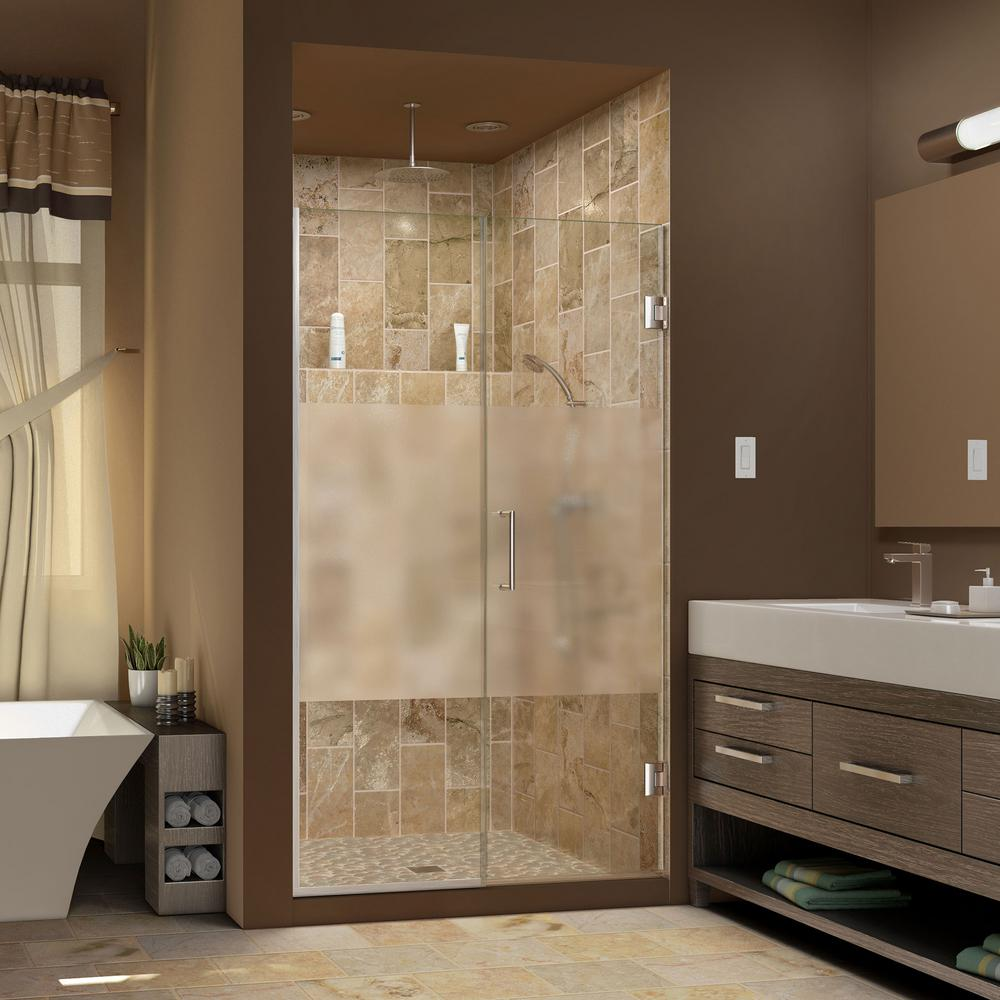 DreamLine Unidoor Plus 53-1/2 to 54 in. x 72 in. Semi-Frameless Hinged Shower Door with Half Frosted Glass in Brushed Nickel