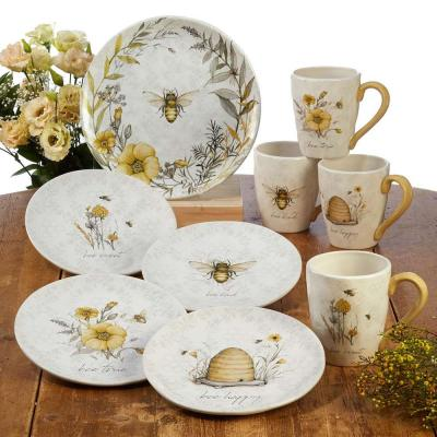 Bee Sweet 16-Piece Multi-Colored Earthenware Dinnerware Set