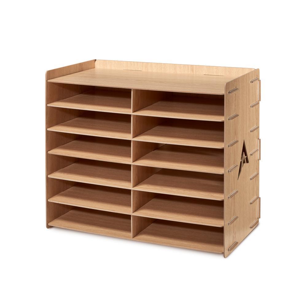 Wood 12 Compartment Paper Literature Organizer Sorter