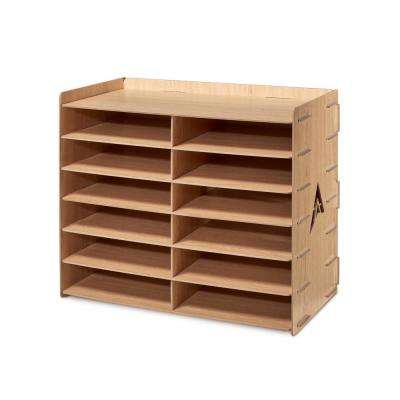 Wood 12 Compartment Paper Literature Organizer Sorter