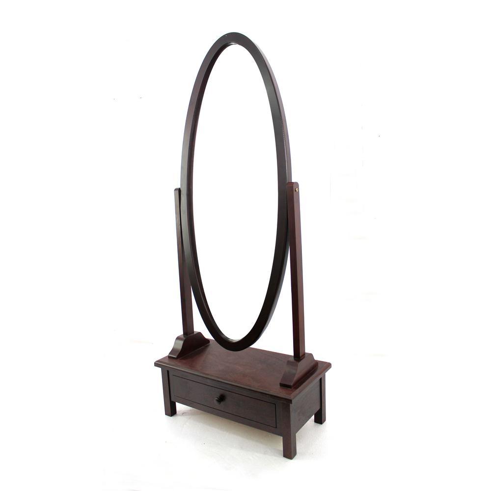 Brown Wood Floor Mirror