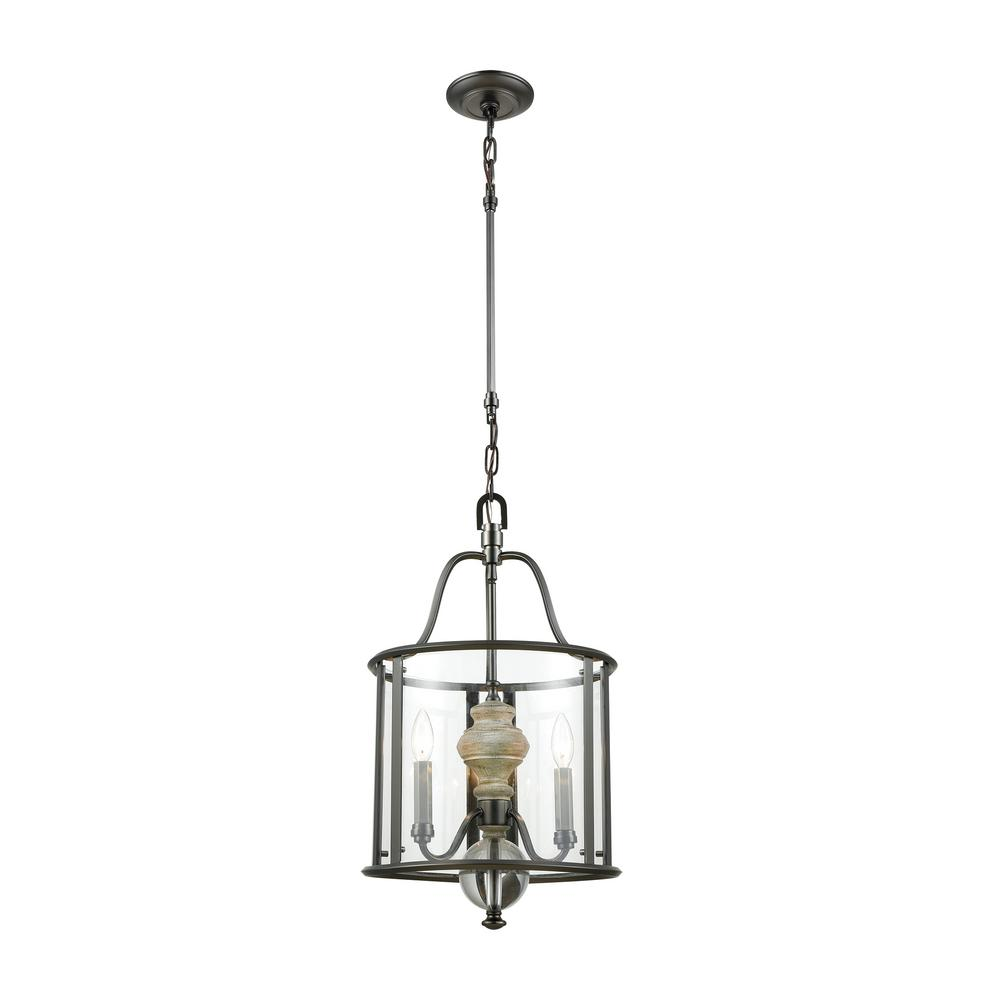 Titan Lighting Neo Classica 3-Light Aged Black Nickel with Weathered Birch Wood Chandelier with Clear Glass Shade