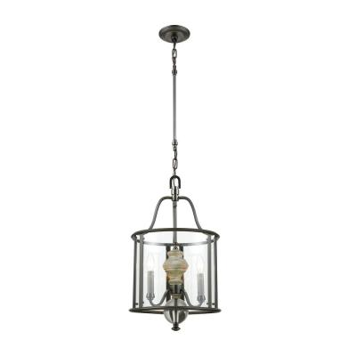 Neo Classica 3-Light Aged Black Nickel with Weathered Birch Wood Chandelier with Clear Glass Shade