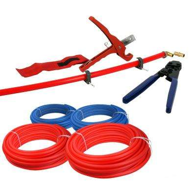 Pex Tubing Plumbing Kit-Crimper Cutter Tools 1/2 in. and 3/4 in. x 500 ft. Tubing Elbow Cinch Half Clamp-1 Red 1 Blue