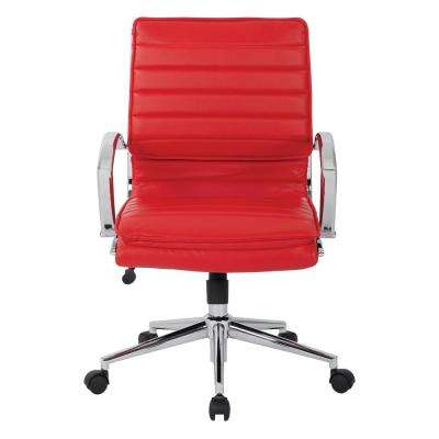Mid Back Manager's Faux Leather Chair in Red with Chrome Base