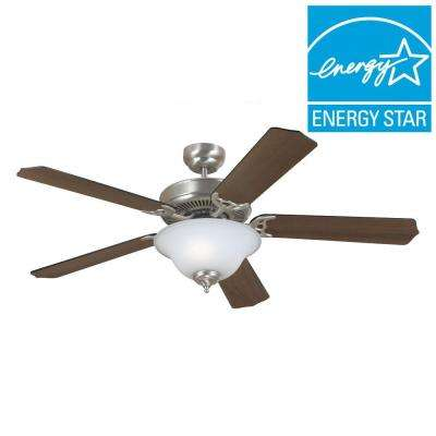 Quality Max Plus 52 in. Brushed Nickel Ceiling Fan with Cerused Oak/Ebony Blades
