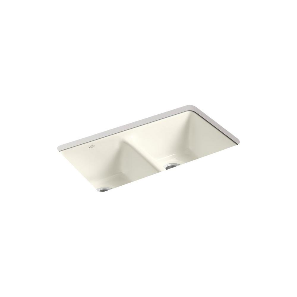 KOHLER Anthem Undermount Cast Iron 33x 22x9.625 5-Hole Kitchen Sink inBiscuit