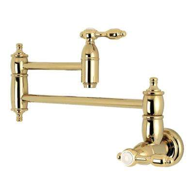 Tudor Wall-Mounted Potfiller Lever Handle in Polished Brass