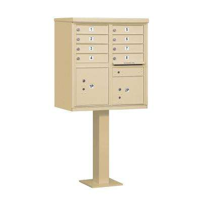 Sandstone USPS Access Cluster Box Unit with 8 A Size Doors and Pedestal