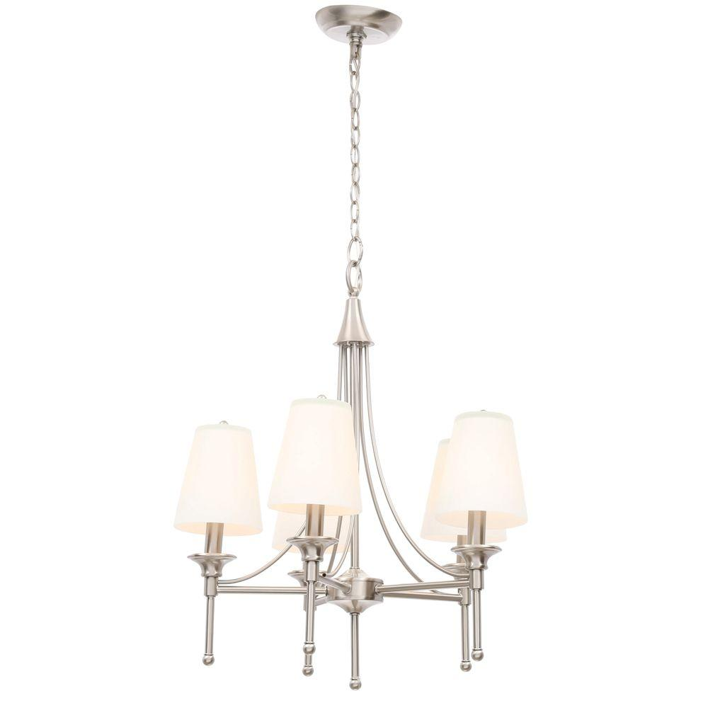 Hampton bay sadie 5 light satin nickel chandelier 15433 029 the hampton bay sadie 5 light satin nickel chandelier aloadofball Choice Image
